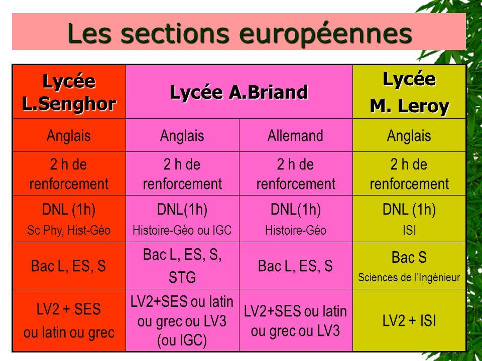 Les sections européennes 2 h de renforcement DNL (1h) ISI DNL(1h) Histoire-Géo DNL(1h) Histoire-Géo ou IGC DNL (1h) Sc Phy, Hist-Géo Bac S Sciences de