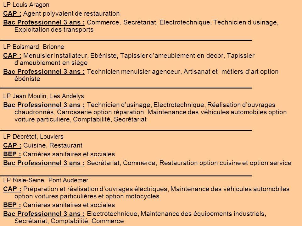 LP Louis Aragon CAP : Agent polyvalent de restauration Bac Professionnel 3 ans : Commerce, Secrétariat, Electrotechnique, Technicien dusinage, Exploit