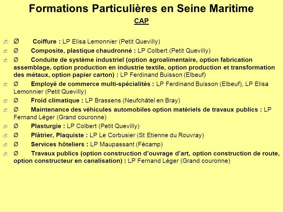Formations Particulières en Seine Maritime CAP Ø Coiffure : LP Elisa Lemonnier (Petit Quevilly) Ø Composite, plastique chaudronné : LP Colbert (Petit