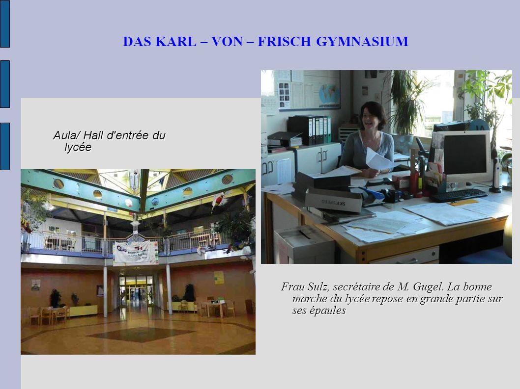 DAS KARL – VON – FRISCH GYMNASIUM Informatikraum/ Salle d informatique pour les élèves : la table avec 6 ordinateurs en-dessous reproduit l hexagone, base architecturale du lycée Puits de lumière du côté des classes de 6ème avec poubelles de tri sélectif.