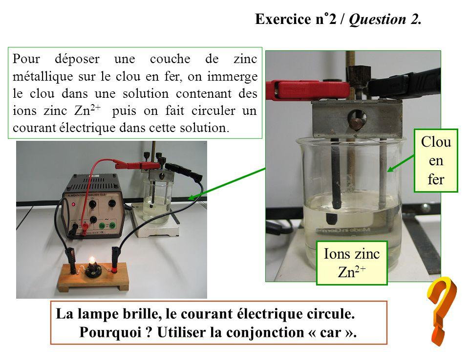 Ions zinc Zn 2+ Clou en fer Pour déposer une couche de zinc métallique sur le clou en fer, on immerge le clou dans une solution contenant des ions zin