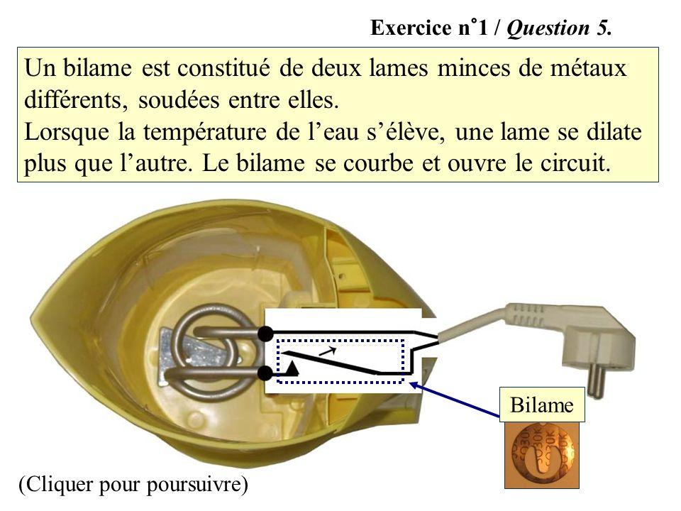 Bilame (Cliquer pour poursuivre) Un bilame est constitué de deux lames minces de métaux différents, soudées entre elles. Lorsque la température de lea
