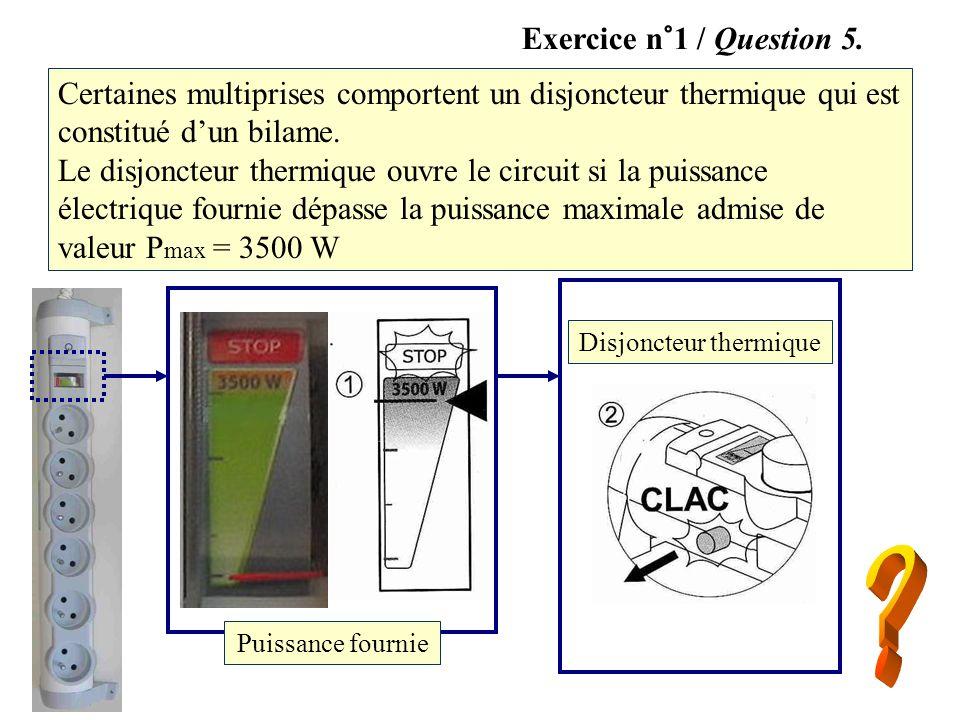 Certaines multiprises comportent un disjoncteur thermique qui est constitué dun bilame. Le disjoncteur thermique ouvre le circuit si la puissance élec