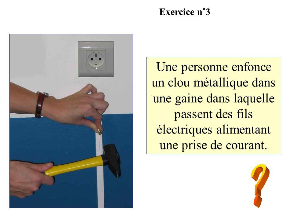 Une personne enfonce un clou métallique dans une gaine dans laquelle passent des fils électriques alimentant une prise de courant. Exercice n°3