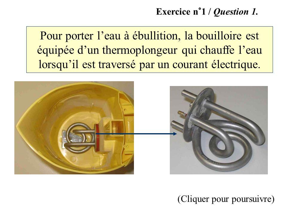 (Cliquer pour poursuivre) Pour porter leau à ébullition, la bouilloire est équipée dun thermoplongeur qui chauffe leau lorsquil est traversé par un co