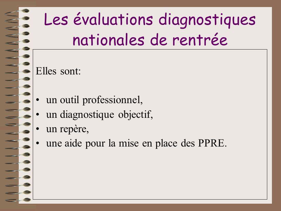 Les évaluations diagnostiques nationales de rentrée Elles sont: un outil professionnel, un diagnostique objectif, un repère, une aide pour la mise en place des PPRE.