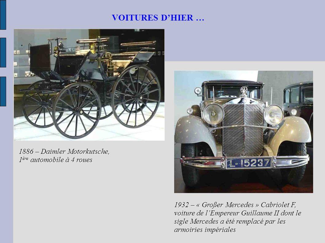 VOITURES DHIER … 1886 – Daimler Motorkutsche, 1 ère automobile à 4 roues 1932 – « Großer Mercedes » Cabriolet F, voiture de lEmpereur Guillaume II don