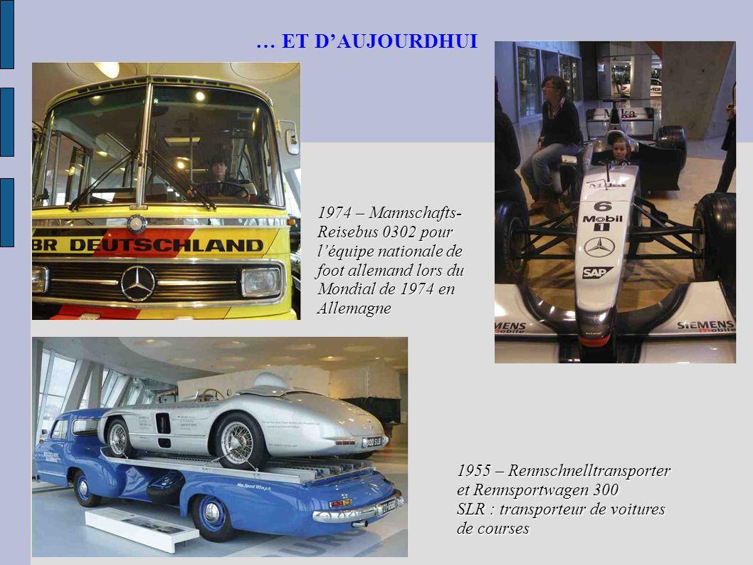 … ET DAUJOURDHUI 1955 – Rennschnelltransporter et Rennsportwagen 300 SLR : transporteur de voitures de courses 1974 – Mannschafts- Reisebus 0302 pour