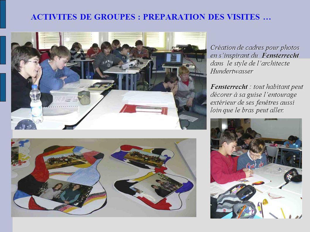 ACTIVITES DE GROUPES : PREPARATION DES VISITES … Création de cadres pour photos en sinspirant du Fensterrecht dans le style de larchitecte Hundertwass
