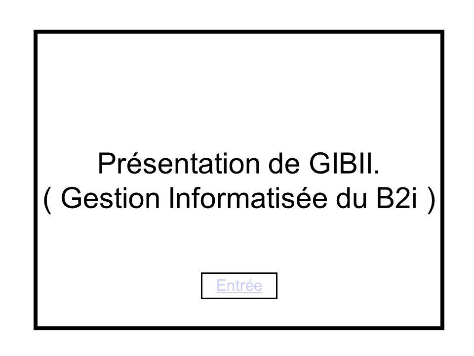 1 Présentation de GIBII. ( Gestion Informatisée du B2i ) Entrée gibii