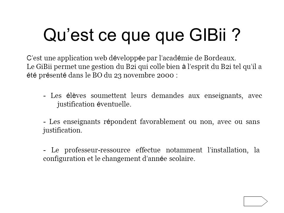 Se connecter à GIBI quand on est enseignant(e) : Il faut dabord se connecter au serveur académique à ladresse : http://gibii.ac-rouen.fr NB : Un code vous est demandé.