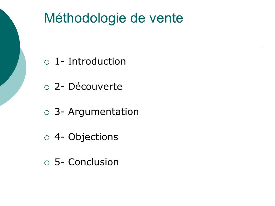 Méthodologie de vente 1- Introduction 2- Découverte 3- Argumentation 4- Objections 5- Conclusion