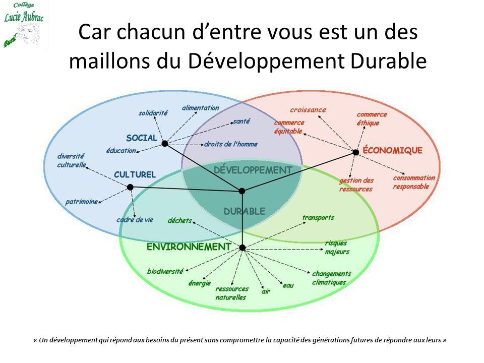 Car chacun dentre vous est un des maillons du Développement Durable « Un développement qui répond aux besoins du présent sans compromettre la capacité