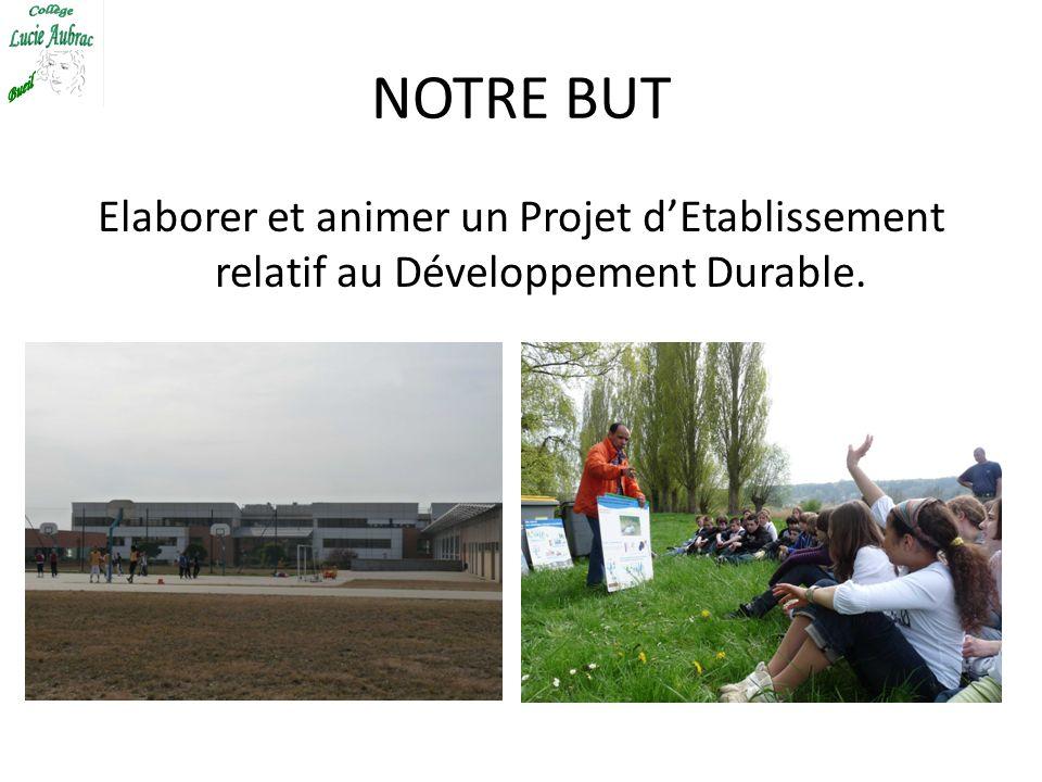 NOTRE BUT Elaborer et animer un Projet dEtablissement relatif au Développement Durable.