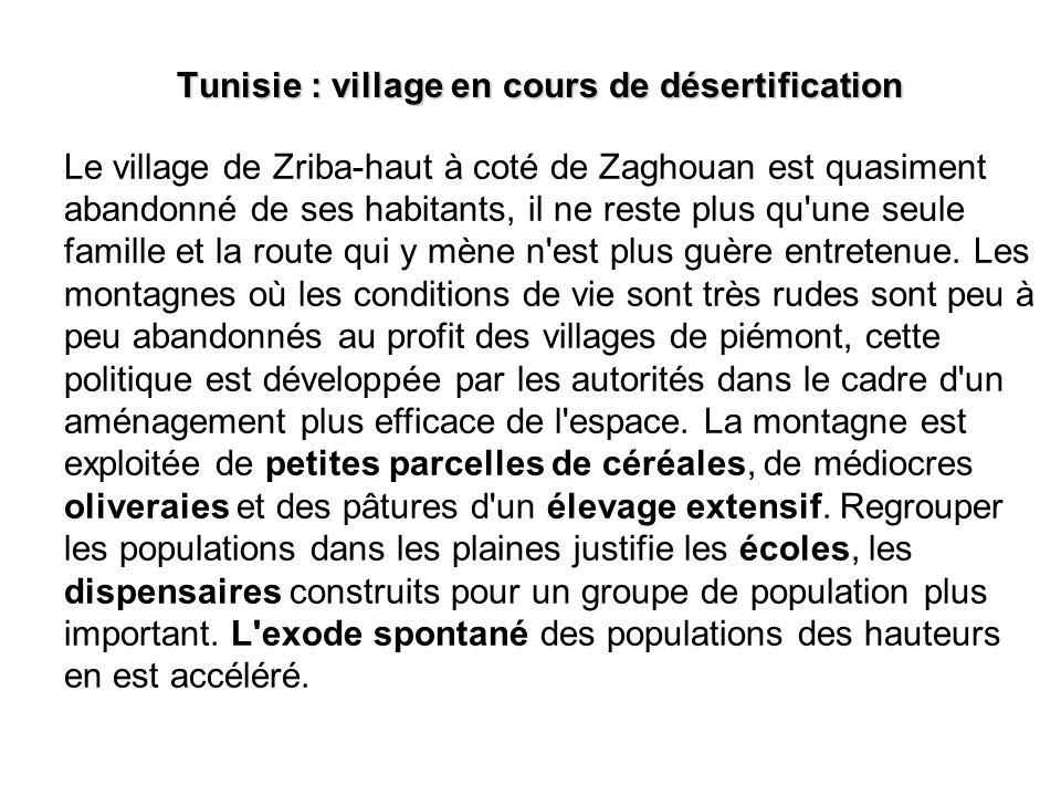 Tunisie : village en cours de désertification Le village de Zriba-haut à coté de Zaghouan est quasiment abandonné de ses habitants, il ne reste plus q