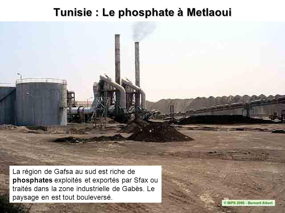 Tunisie : Le phosphate à Metlaoui La région de Gafsa au sud est riche de phosphates exploités et exportés par Sfax ou traités dans la zone industriell