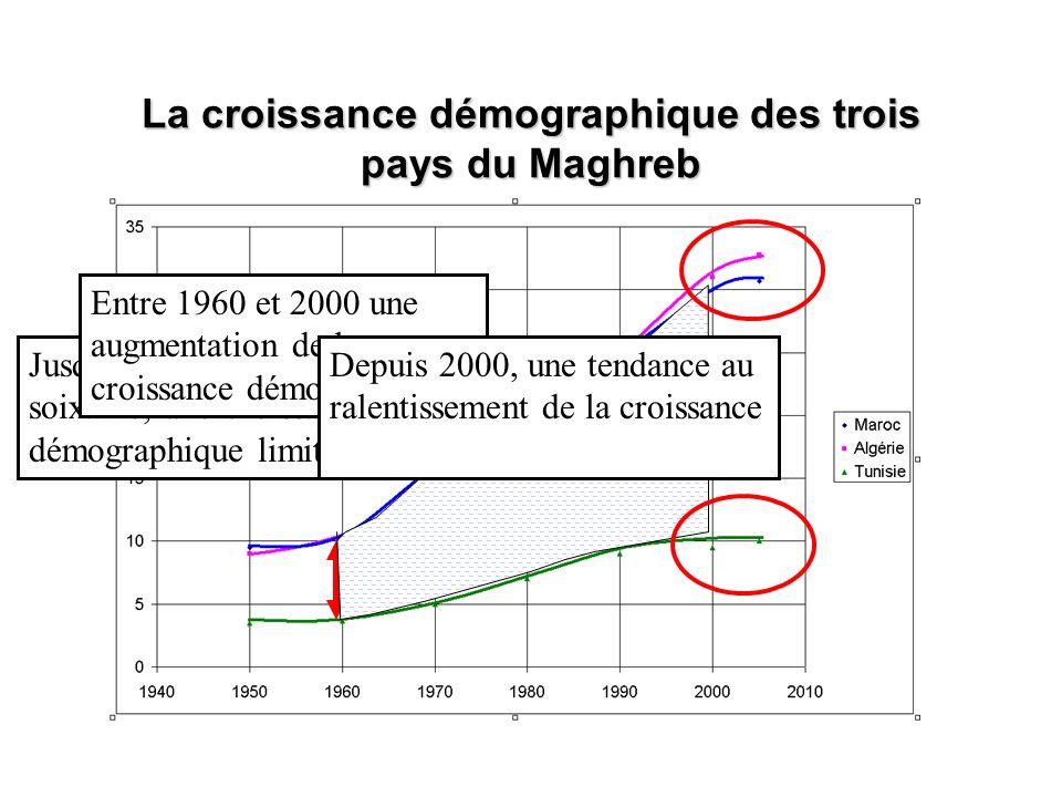 La croissance démographique des trois pays du Maghreb Jusque dans les années soixante, une croissance démographique limitée Entre 1960 et 2000 une aug