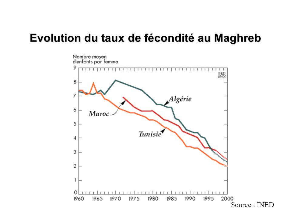 Evolution du taux de fécondité au Maghreb Source : INED