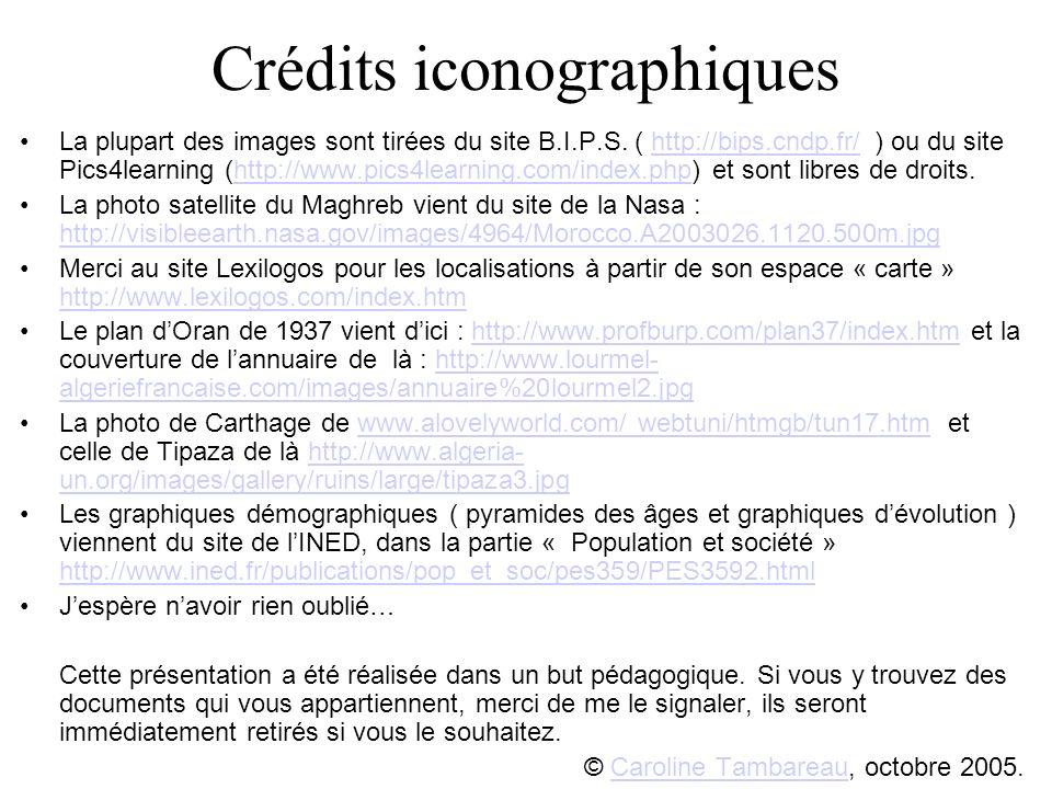 Crédits iconographiques La plupart des images sont tirées du site B.I.P.S. ( http://bips.cndp.fr/ ) ou du site Pics4learning (http://www.pics4learning