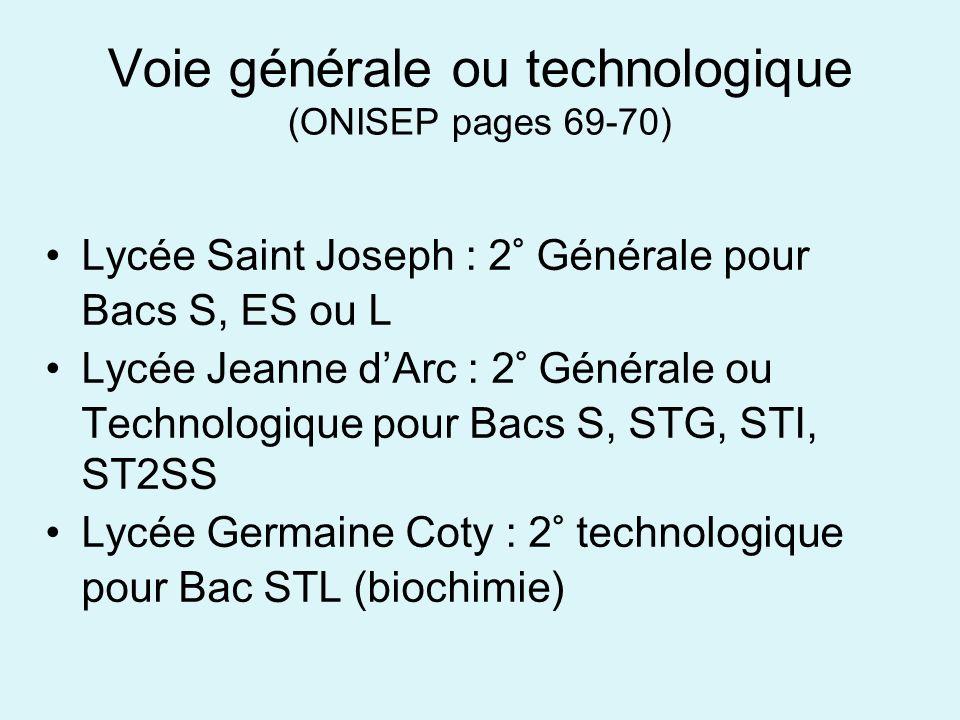 Voie générale ou technologique (ONISEP pages 69-70) Lycée Saint Joseph : 2° Générale pour Bacs S, ES ou L Lycée Jeanne dArc : 2° Générale ou Technolog