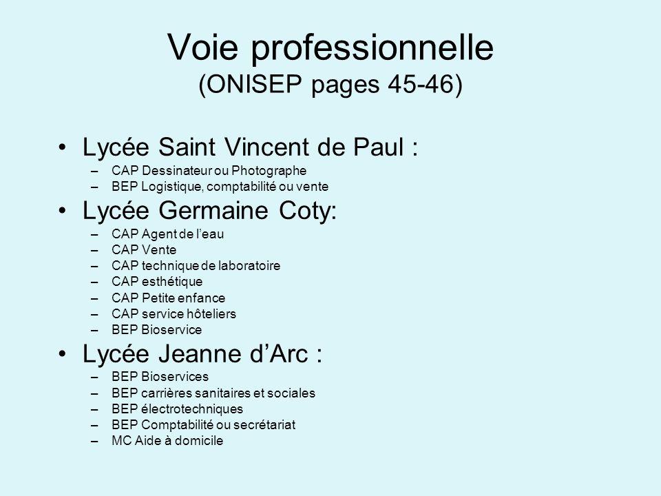 Voie professionnelle (ONISEP pages 45-46) Lycée Saint Vincent de Paul : –CAP Dessinateur ou Photographe –BEP Logistique, comptabilité ou vente Lycée G