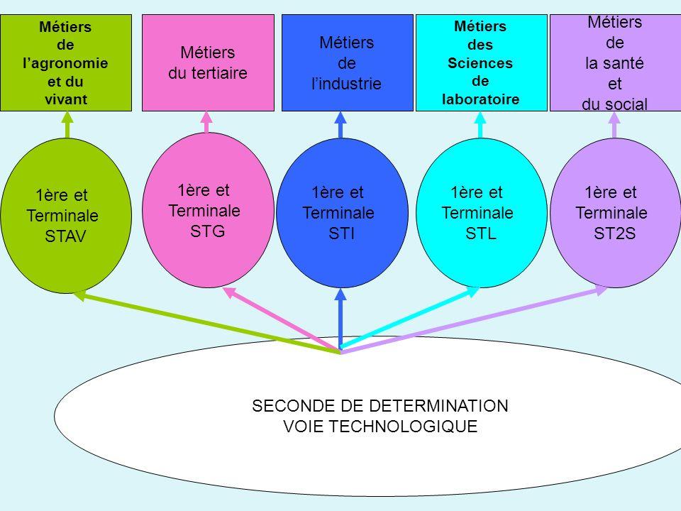 SECONDE DE DETERMINATION VOIE TECHNOLOGIQUE 1ère et Terminale ST2S 1ère et Terminale STG 1ère et Terminale STAV 1ère et Terminale STI 1ère et Terminal