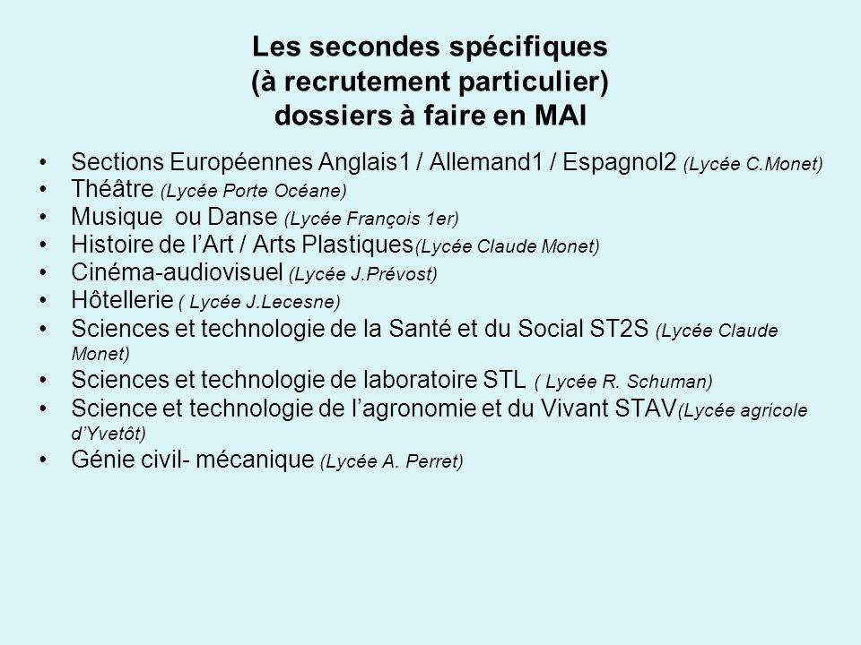 Les secondes spécifiques (à recrutement particulier) dossiers à faire en MAI Sections Européennes Anglais1 / Allemand1 / Espagnol2 (Lycée C.Monet) Thé
