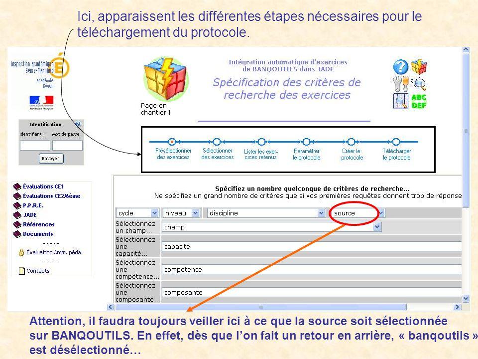 Ici, apparaissent les différentes étapes nécessaires pour le téléchargement du protocole.