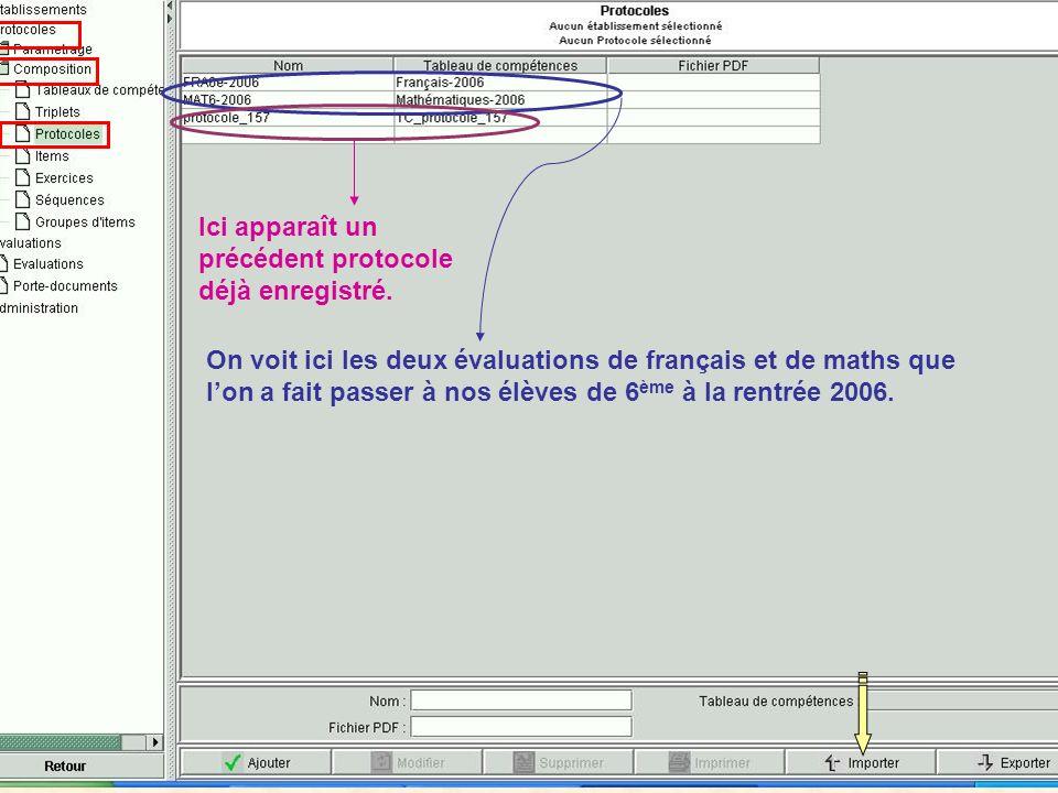 On voit ici les deux évaluations de français et de maths que lon a fait passer à nos élèves de 6 ème à la rentrée 2006.