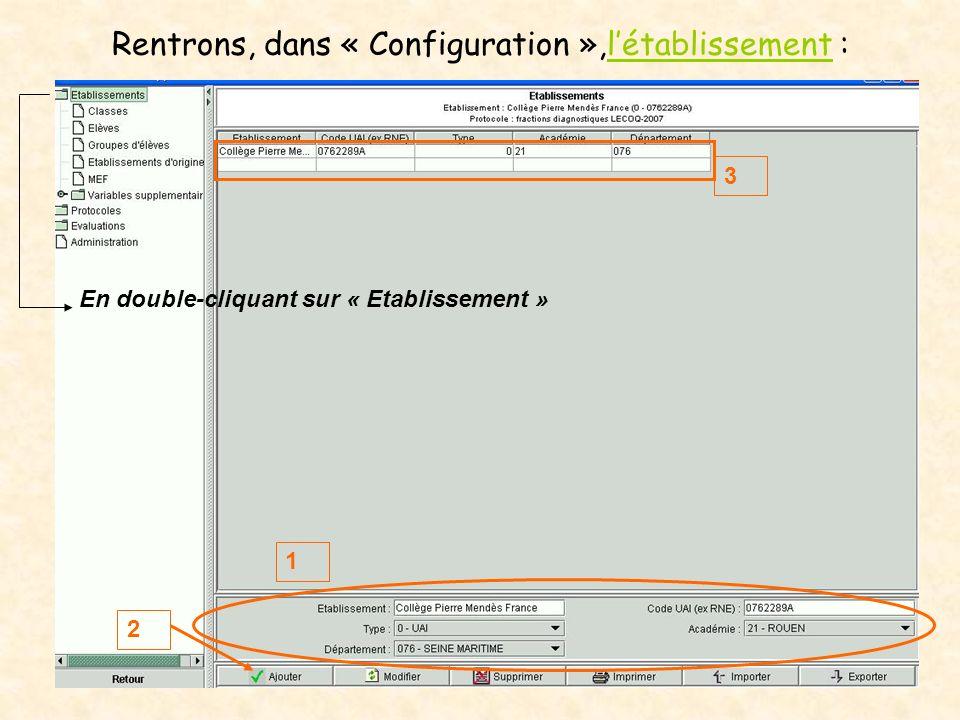 Rentrons, dans « Configuration »,létablissement : 1 2 3 En double-cliquant sur « Etablissement »