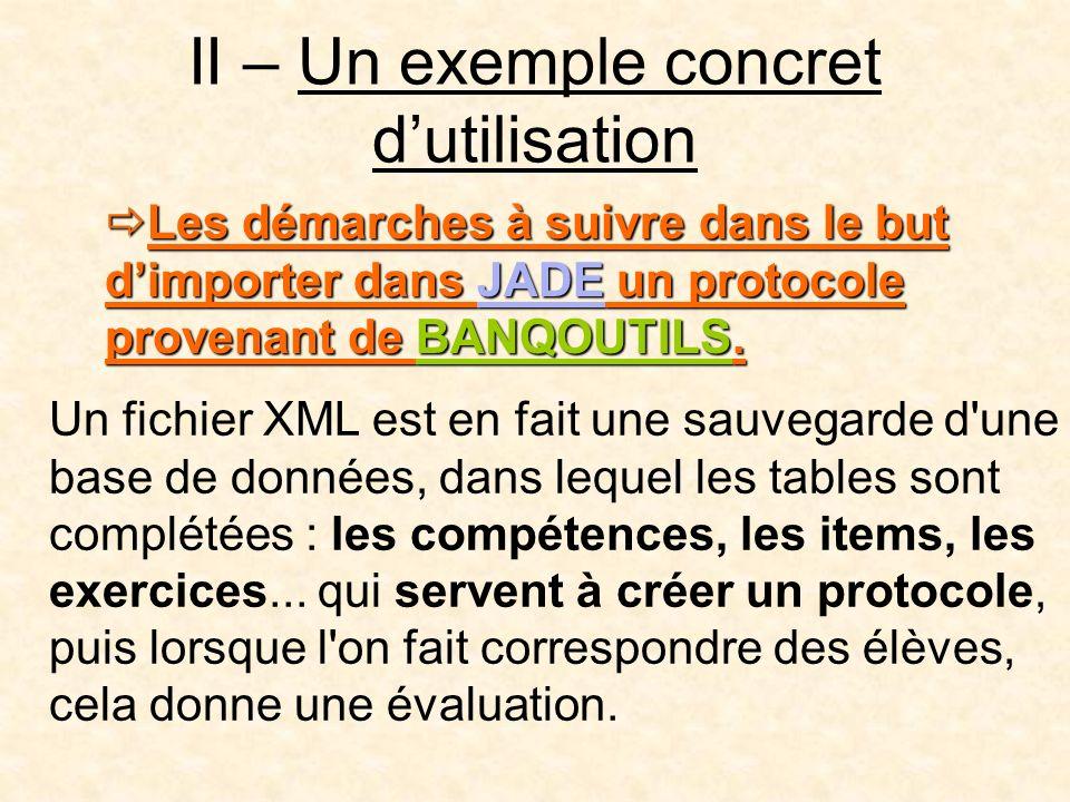II – Un exemple concret dutilisation Les démarches à suivre dans le but dimporter dans JADE un protocole provenant de BANQOUTILS.