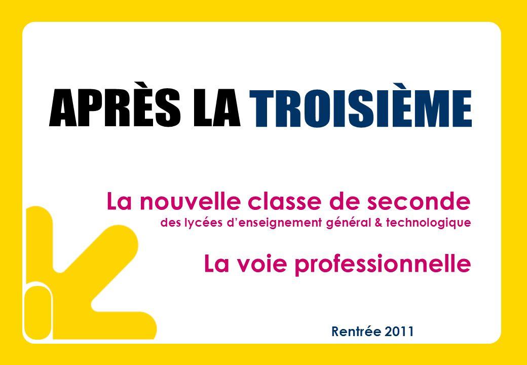 Rentrée 2011 La nouvelle classe de seconde des lycées denseignement général & technologique La voie professionnelle