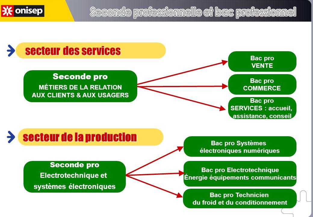 Certains bac pro sont rattachés à un champ professionnel Bac pro VENTE Bac pro COMMERCE Bac pro SERVICES : accueil, assistance, conseil Seconde pro MÉ
