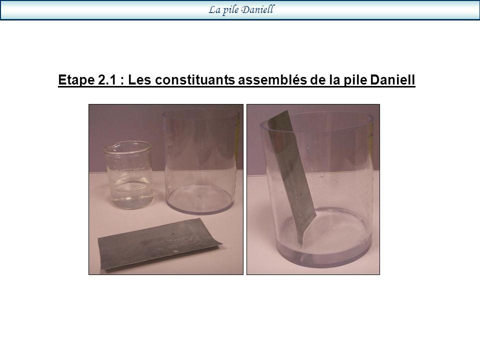 Etape 2.1 : Les constituants assemblés de la pile Daniell La pile Daniell