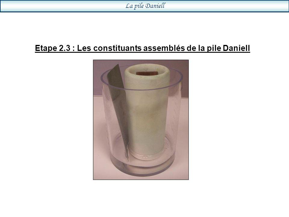 Etape 2.3 : Les constituants assemblés de la pile Daniell La pile Daniell