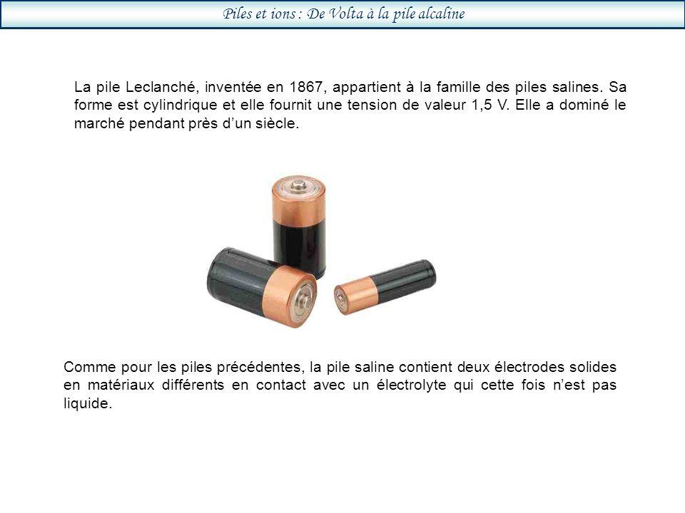 Piles et ions : De Volta à la pile alcaline La pile Leclanché, inventée en 1867, appartient à la famille des piles salines.