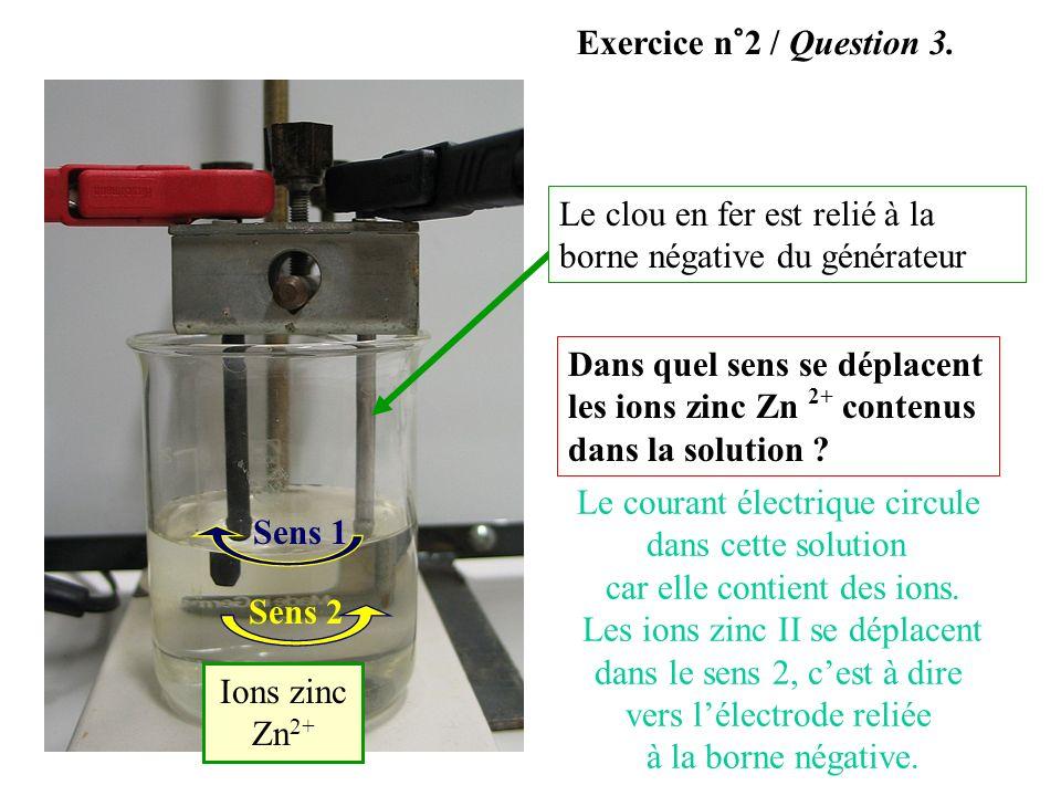 Dans quel sens se déplacent les ions zinc Zn 2+ contenus dans la solution ? Sens 1 Sens 2 Ions zinc Zn 2+ Le clou en fer est relié à la borne négative
