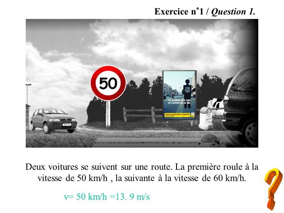 Exercice n°1 / Question 1. Deux voitures se suivent sur une route. La première roule à la vitesse de 50 km/h, la suivante à la vitesse de 60 km/h. v=
