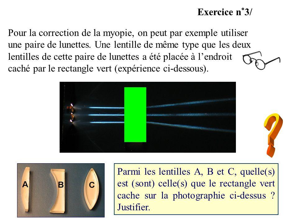Parmi les lentilles A, B et C, quelle(s) est (sont) celle(s) que le rectangle vert cache sur la photographie ci-dessus ? Justifier. Exercice n°3/ Pour