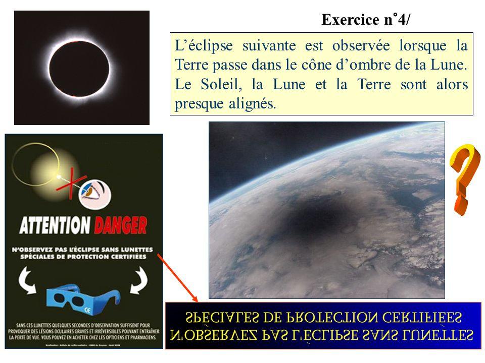 Léclipse suivante est observée lorsque la Terre passe dans le cône dombre de la Lune. Le Soleil, la Lune et la Terre sont alors presque alignés. Exerc