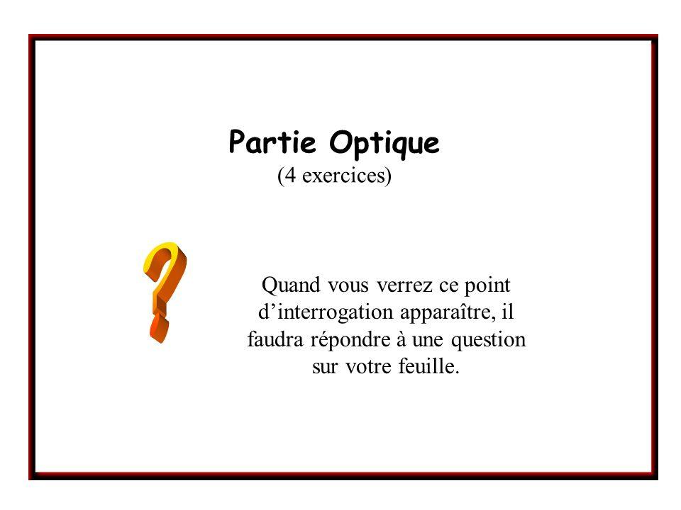 Partie Optique (4 exercices) Quand vous verrez ce point dinterrogation apparaître, il faudra répondre à une question sur votre feuille.