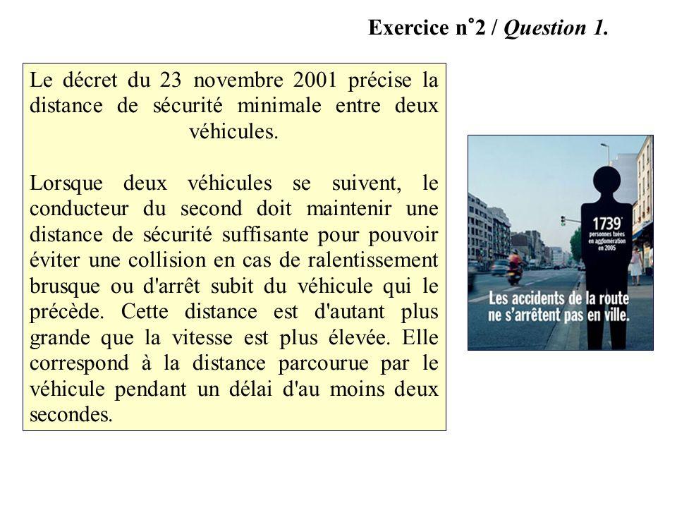 Exercice n°2 / Question 1. Le décret du 23 novembre 2001 précise la distance de sécurité minimale entre deux véhicules. Lorsque deux véhicules se suiv