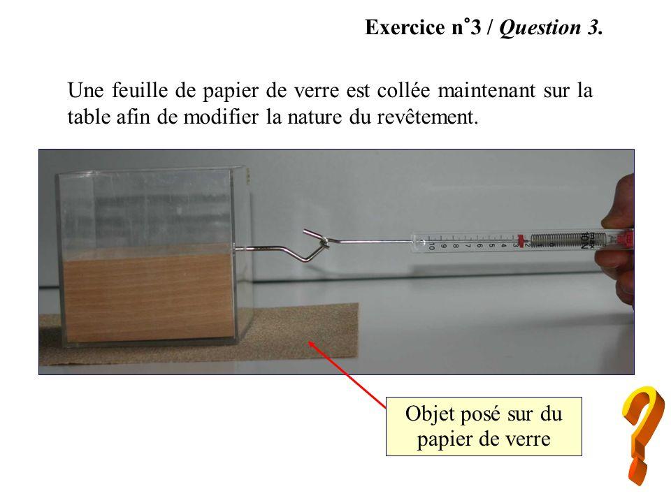 Exercice n°3 / Question 3. Une feuille de papier de verre est collée maintenant sur la table afin de modifier la nature du revêtement. Objet posé sur