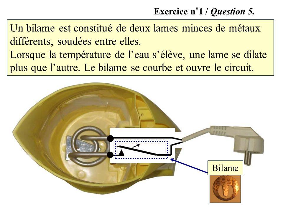 Bilame Un bilame est constitué de deux lames minces de métaux différents, soudées entre elles. Lorsque la température de leau sélève, une lame se dila