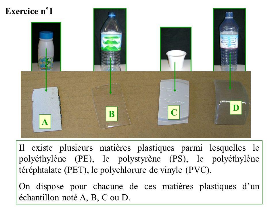 Il existe plusieurs matières plastiques parmi lesquelles le polyéthylène (PE), le polystyrène (PS), le polyéthylène téréphtalate (PET), le polychlorur