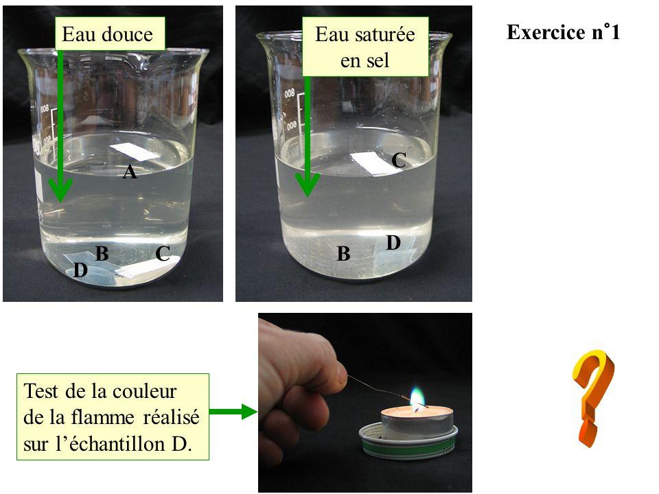 A D BC C D B Eau douceEau saturée en sel Test de la couleur de la flamme réalisé sur léchantillon D. Exercice n°1