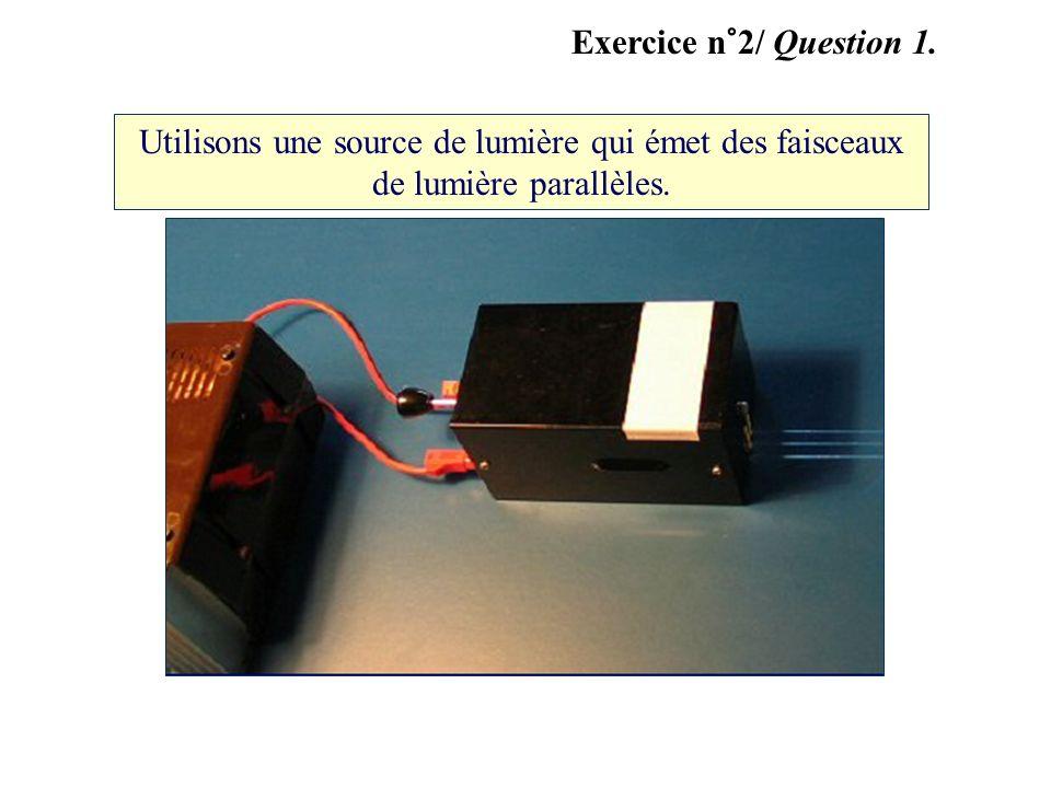 Utilisons une source de lumière qui émet des faisceaux de lumière parallèles. Exercice n°2/ Question 1.