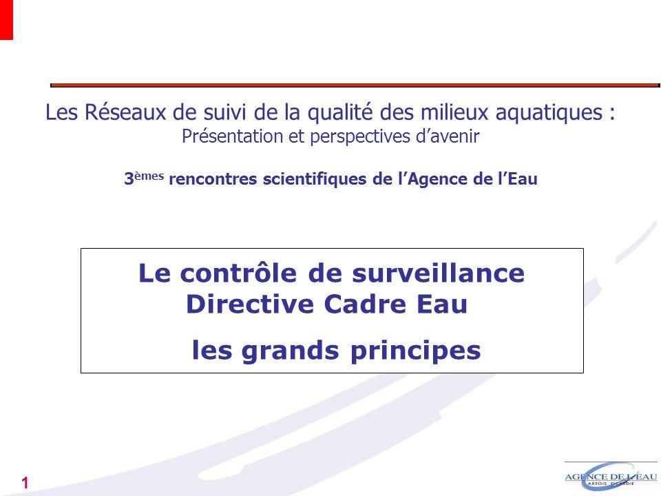 1 Les Réseaux de suivi de la qualité des milieux aquatiques : Présentation et perspectives davenir 3 èmes rencontres scientifiques de lAgence de lEau