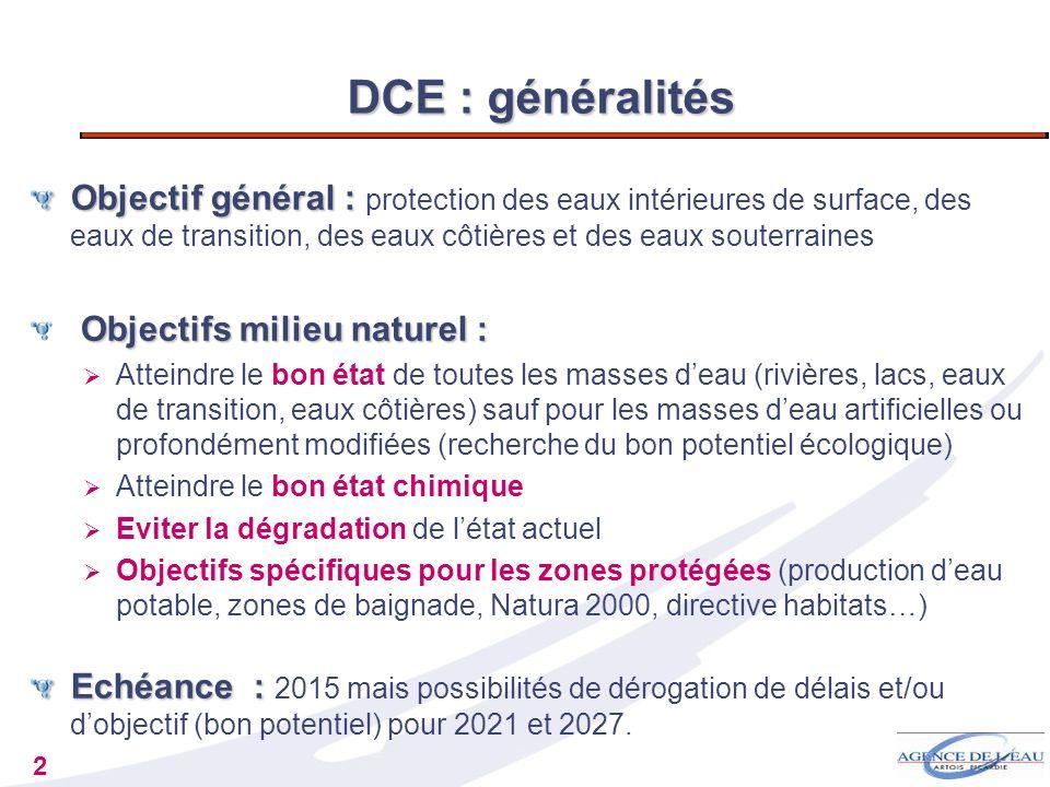 2 DCE : généralités Objectif général : Objectif général : protection des eaux intérieures de surface, des eaux de transition, des eaux côtières et des