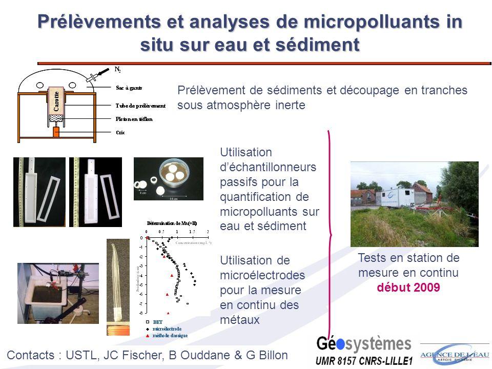 23 Prélèvements et analyses de micropolluants in situ sur eau et sédiment Prélèvement de sédiments et découpage en tranches sous atmosphère inerte Uti